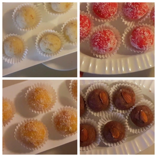 Coconut ladoo collage
