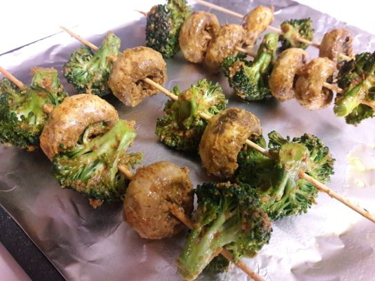 Broccoli and Mushroom Skewers for Two 6