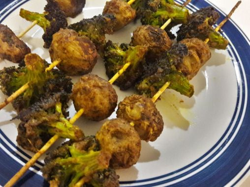 Broccoli and Mushroom Skewers for Two 7
